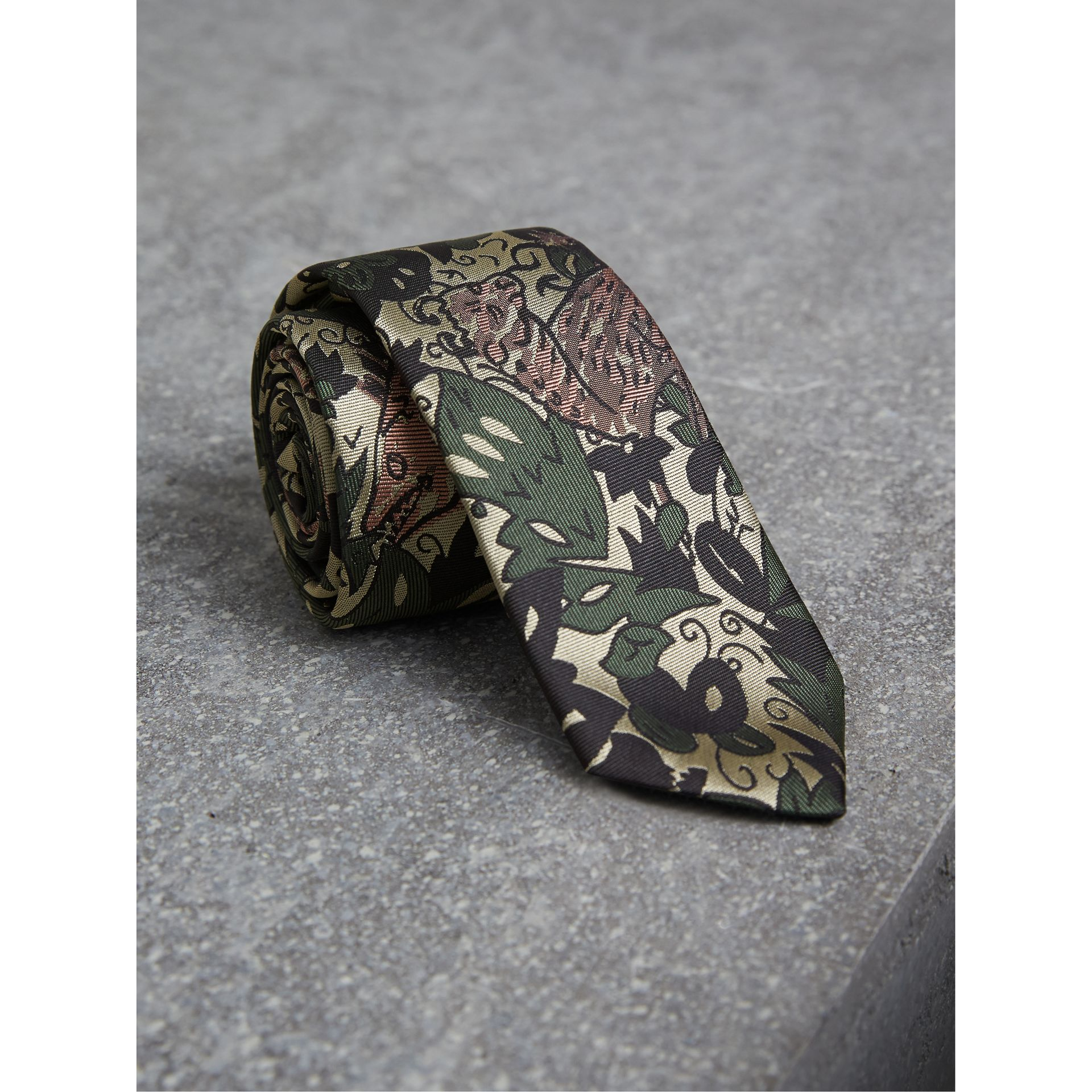 Slim Cut Beasts Silk Jacquard Tie in Chalk Green - Men | Burberry - gallery image 1