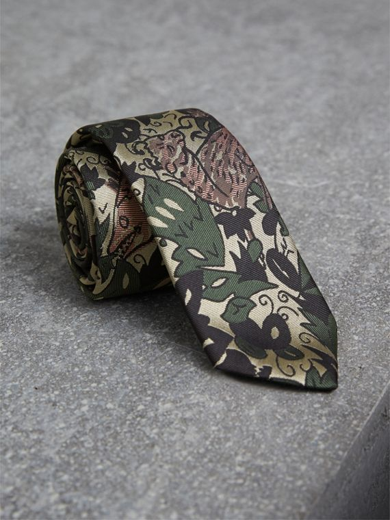 Slim Cut Beasts Silk Jacquard Tie in Chalk Green - Men | Burberry Australia
