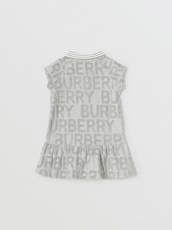 Logo Towelling Polo Dress in Pale Grey - Children | Burberry - cell image 3