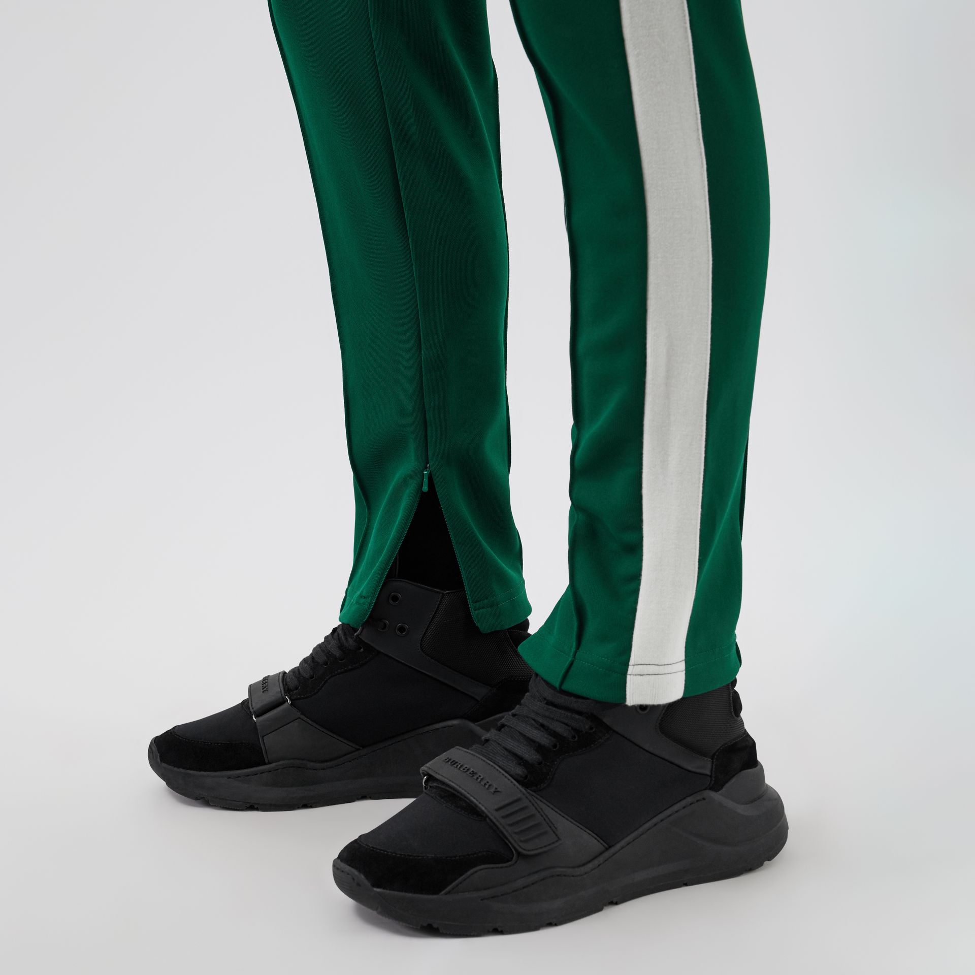 Sport Stripe Cotton Blend Drawcord Trousers in Opal Green - Men | Burberry Singapore - gallery image 1