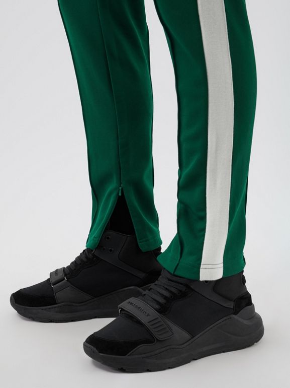 Sport Stripe Cotton Blend Drawcord Trousers in Opal Green - Men | Burberry Singapore - cell image 1