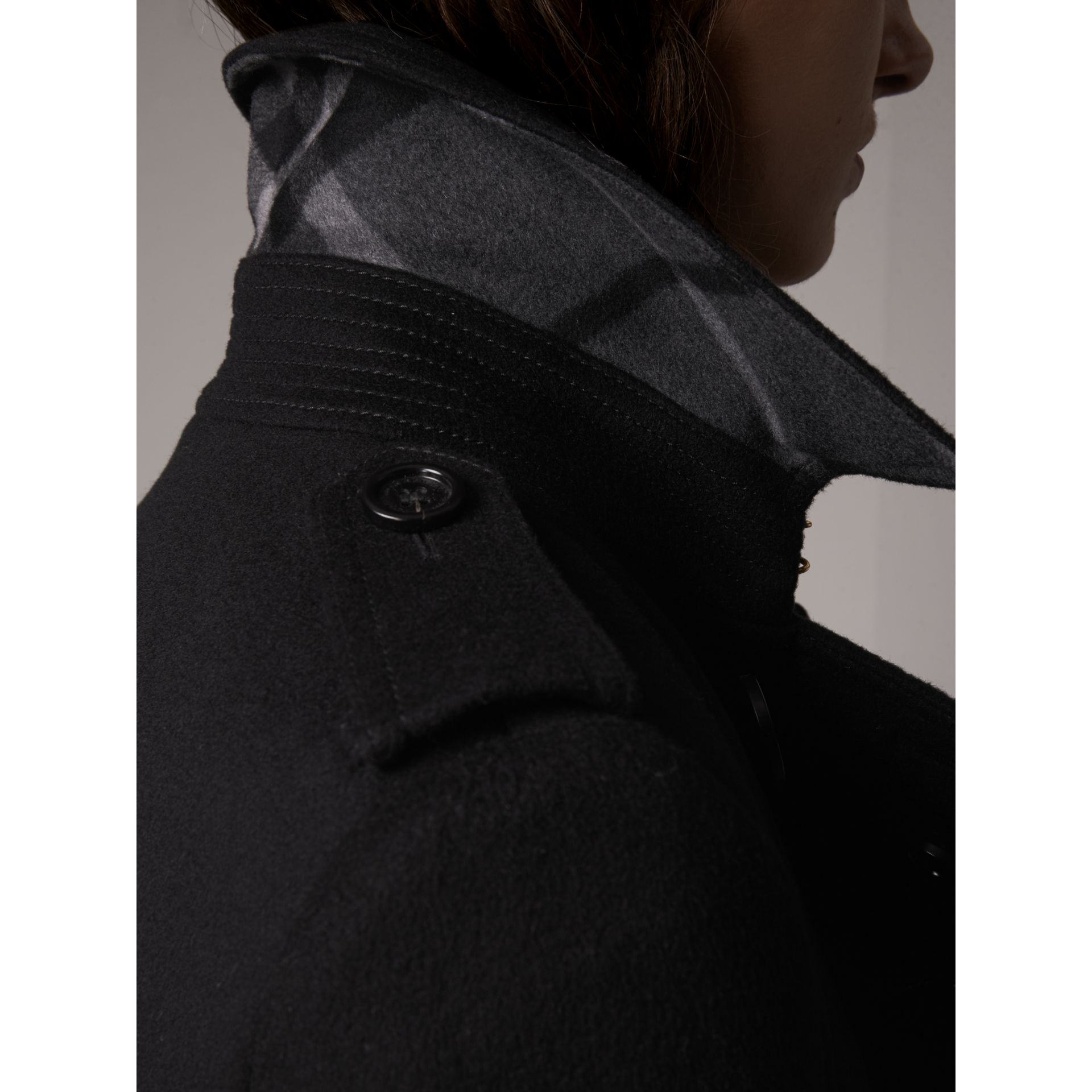 Wool Cashmere Trench Coat in Black - Women | Burberry - gallery image 5