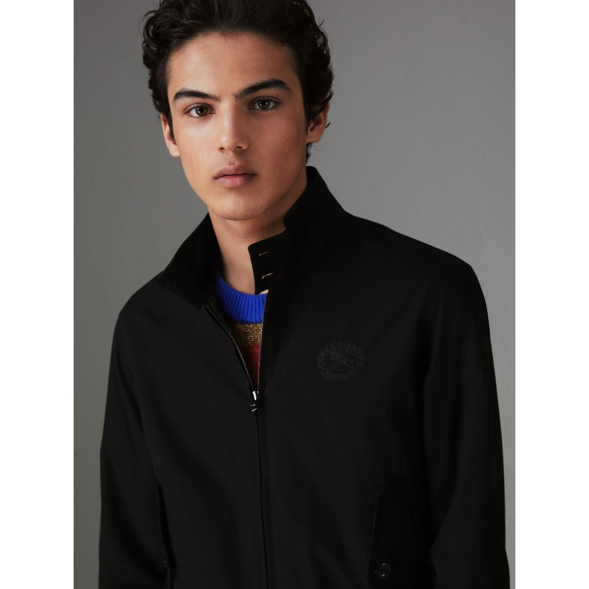 Slim Fit Tropical Gabardine Harrington Jacket in Black - Men | Burberry United Kingdom - gallery image 1