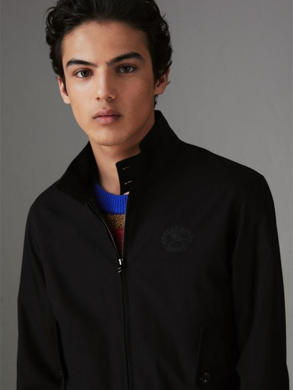 Slim Fit Tropical Gabardine Harrington Jacket in Black