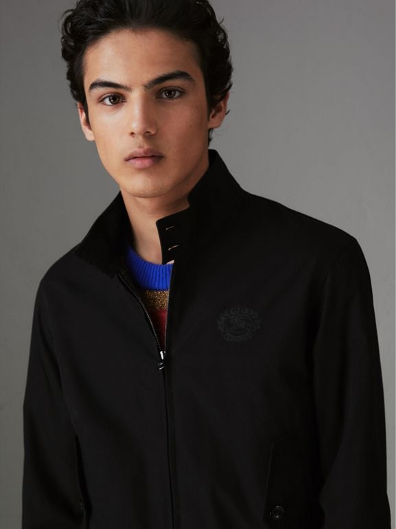 Slim Fit Tropical Gabardine Harrington Jacket in Black - Men | Burberry United States - cell image 1