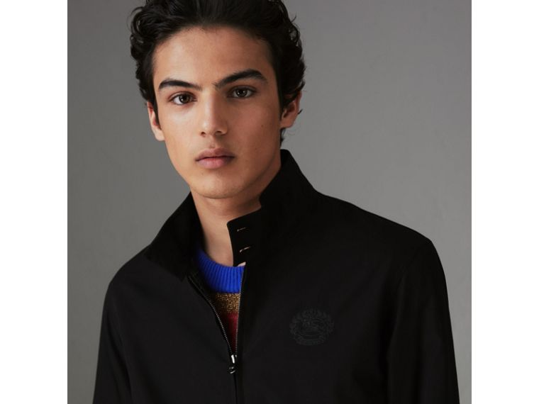 Slim Fit Tropical Gabardine Harrington Jacket in Black - Men | Burberry Hong Kong - cell image 1