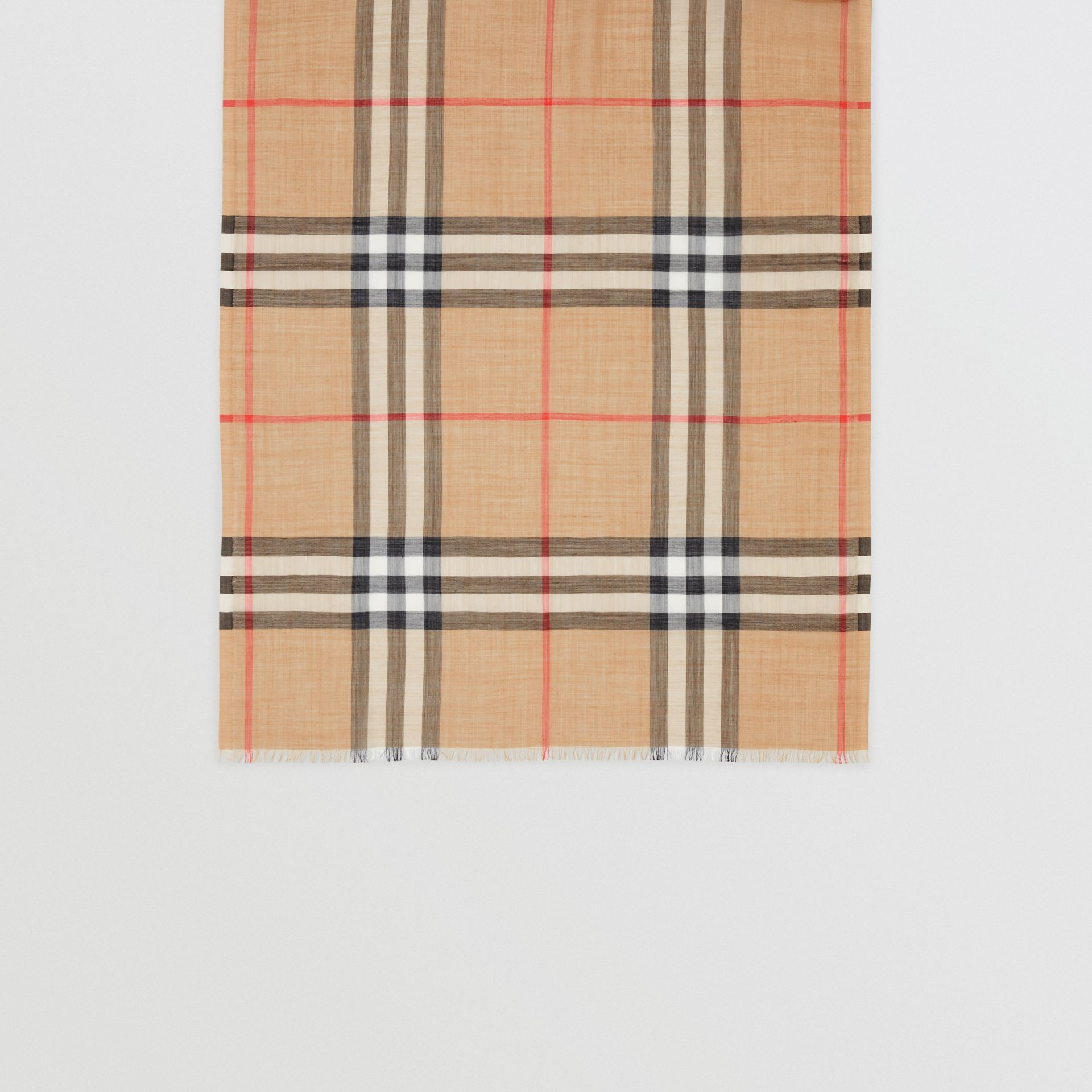 Lightweight Check Wool and Silk Scarf in Camel | Burberry - gallery image 4