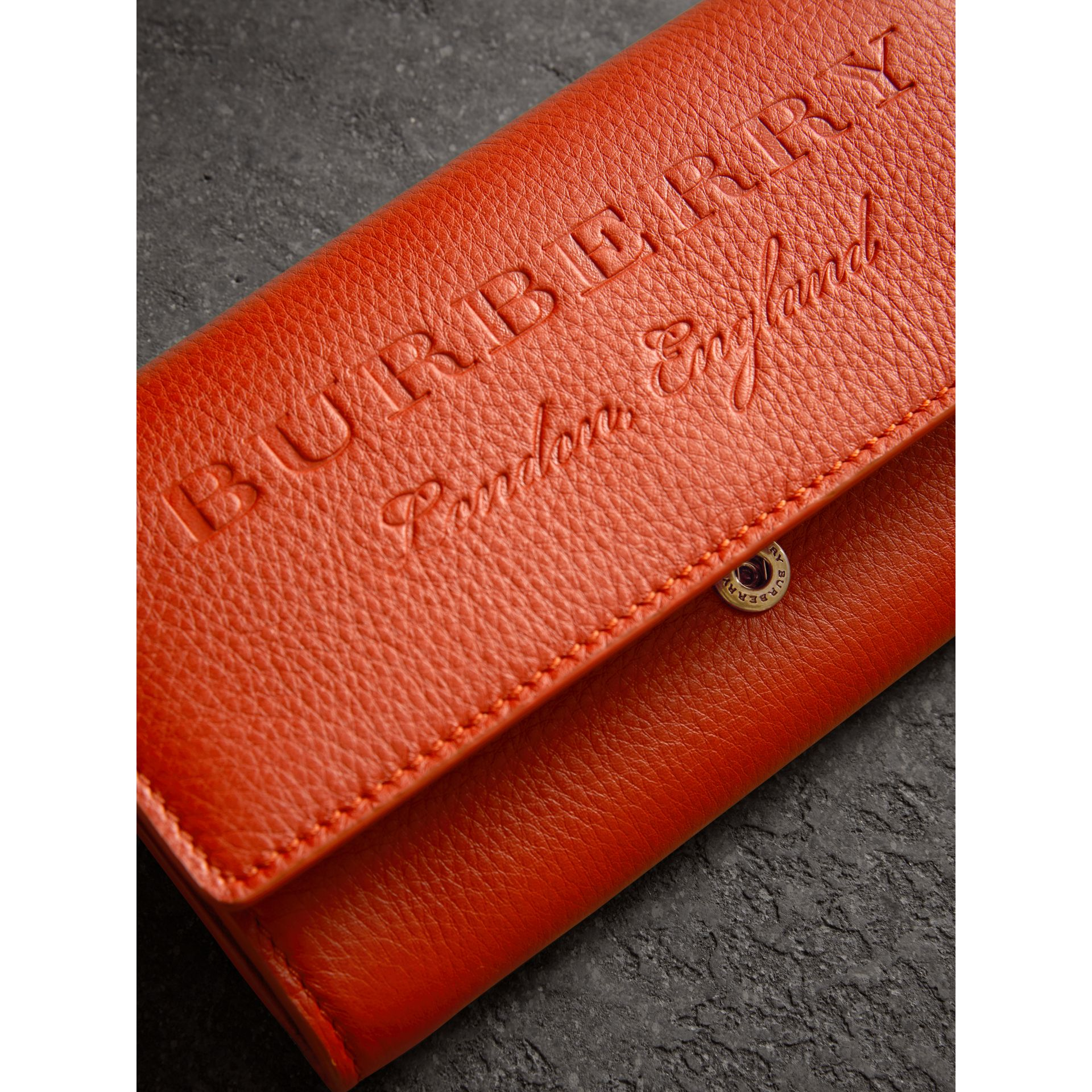 Embossed Leather Continental Wallet in Dark Clementine - Women | Burberry Australia - gallery image 1