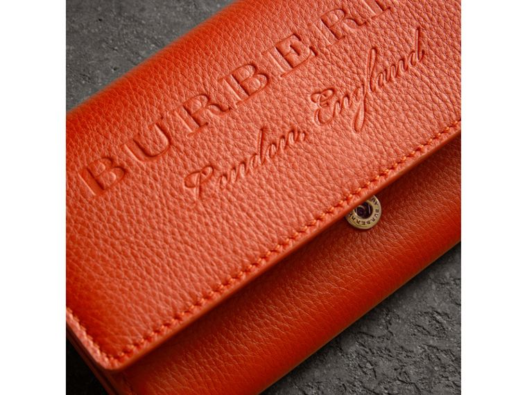 Embossed Leather Continental Wallet in Dark Clementine - Women | Burberry - cell image 1