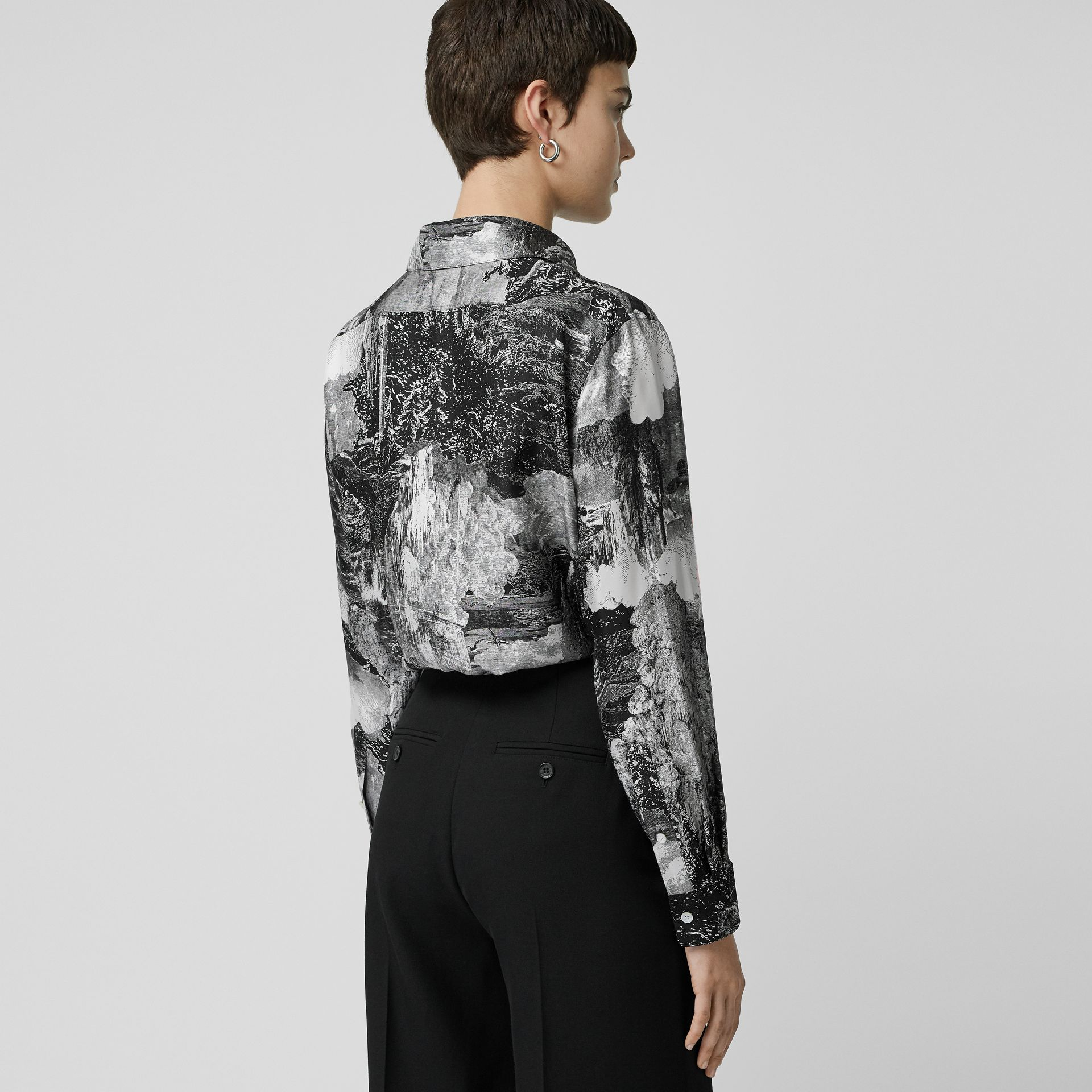 Dreamscape Print Silk Longline Shirt in Black - Women | Burberry Canada - gallery image 2
