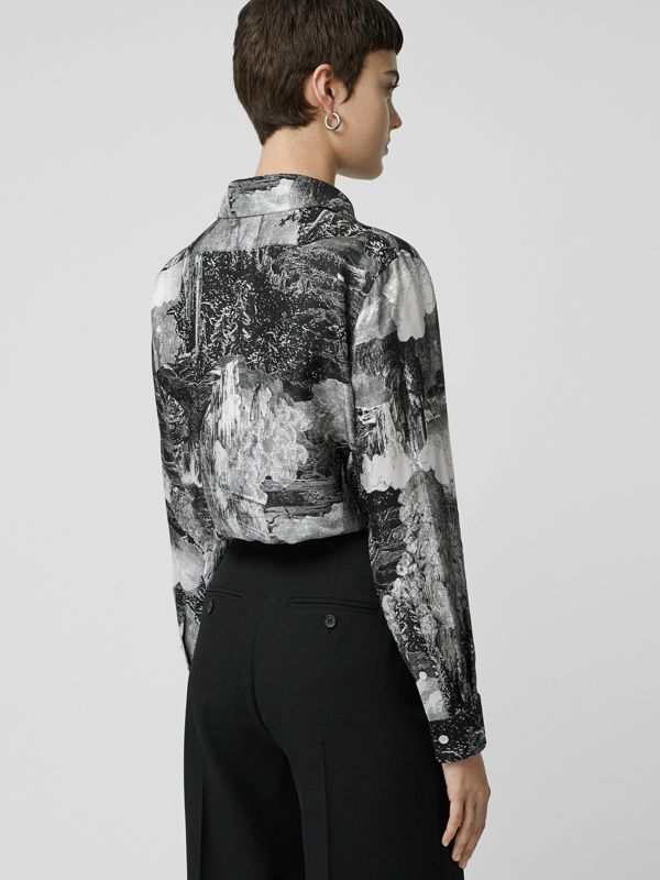 Dreamscape Print Silk Longline Shirt in Black - Women | Burberry Canada - cell image 2