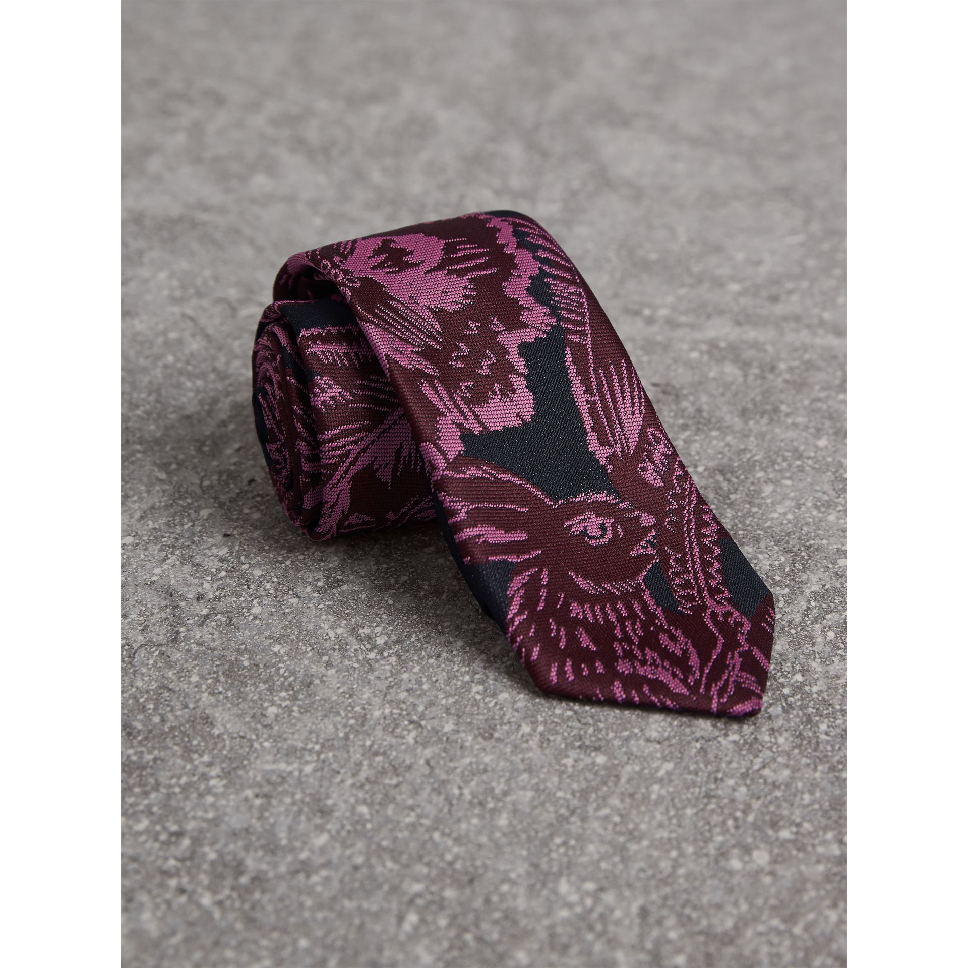 Slim Cut Beasts Silk Jacquard Tie in Pink Azalea - Men | Burberry Australia - gallery image 1