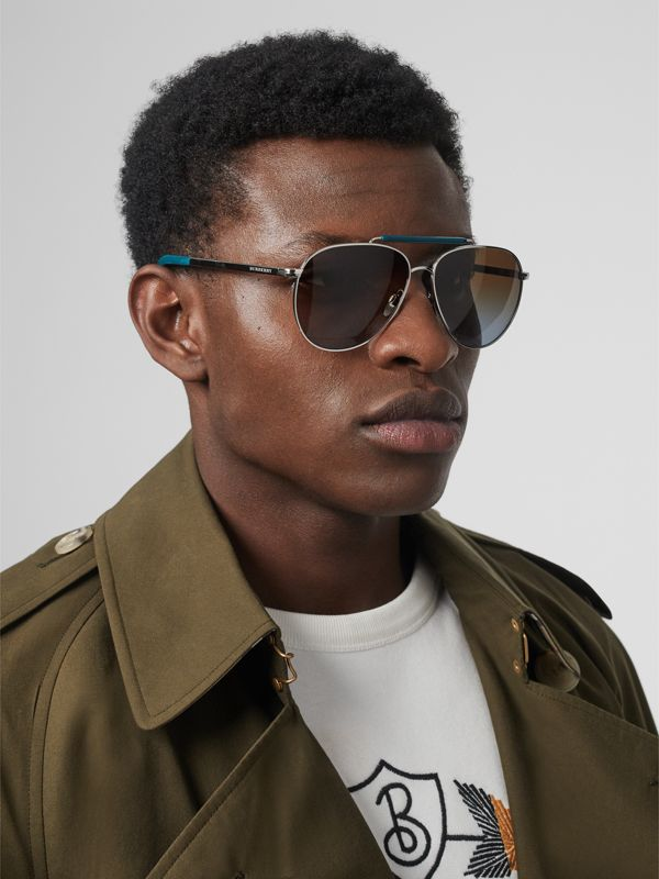 Top Bar Detail Pilot Sunglasses in Teal Blue - Men | Burberry United States - cell image 2