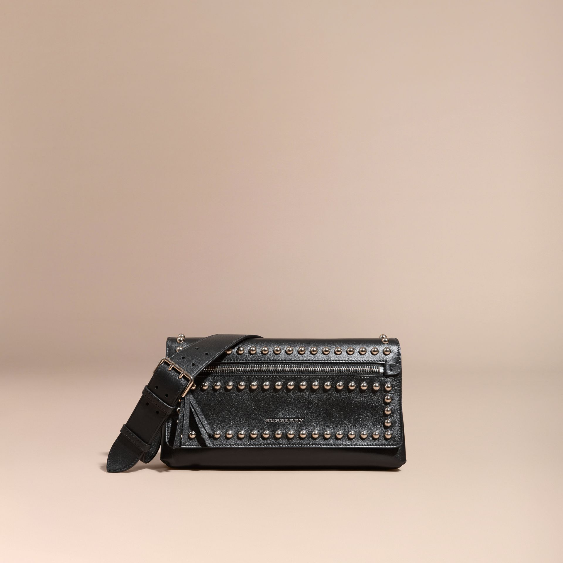 Black Smooth Leather Clutch Bag with Stud Detail - gallery image 9