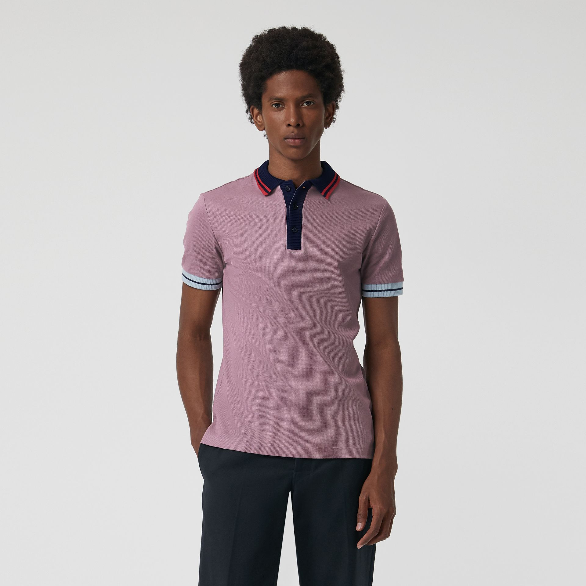 Two-tone Stripe Knitted Detail Cotton Polo Shirt in Heather Pink - Men | Burberry - gallery image 4
