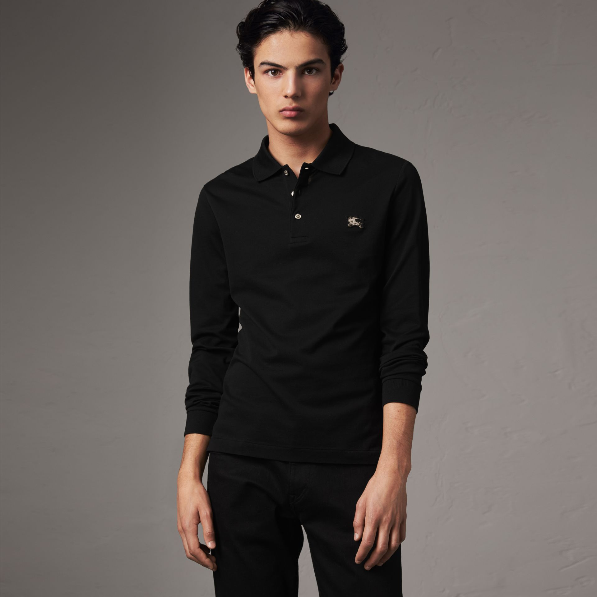 Long-sleeve Cotton Piqué Polo Shirt in Black - Men | Burberry Canada - gallery image 0