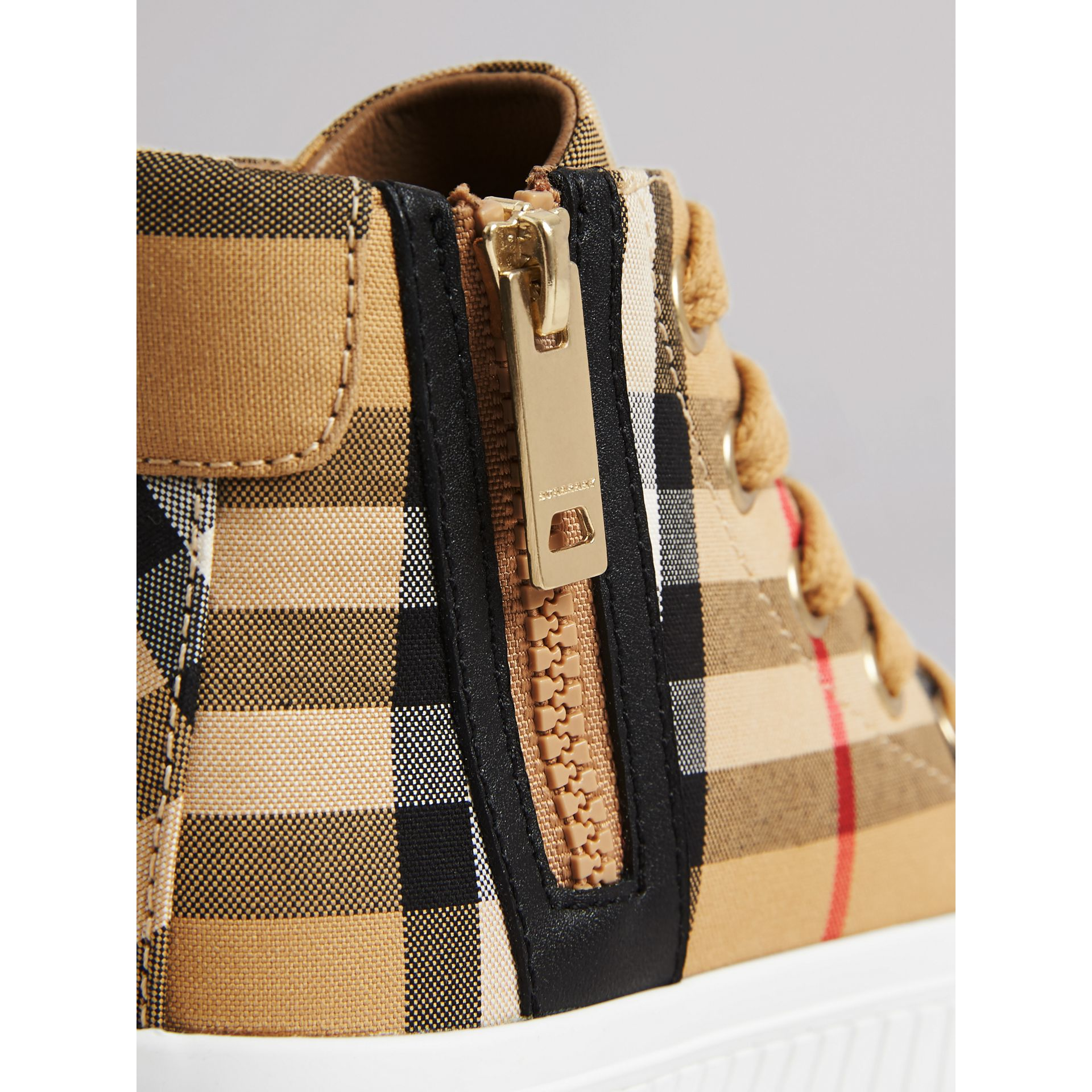Vintage Check and Leather High-top Sneakers in Antique Yellow/optic White - Children | Burberry - gallery image 1