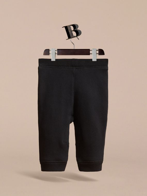 Drawcord Cotton Sweatpants in Black | Burberry - cell image 3