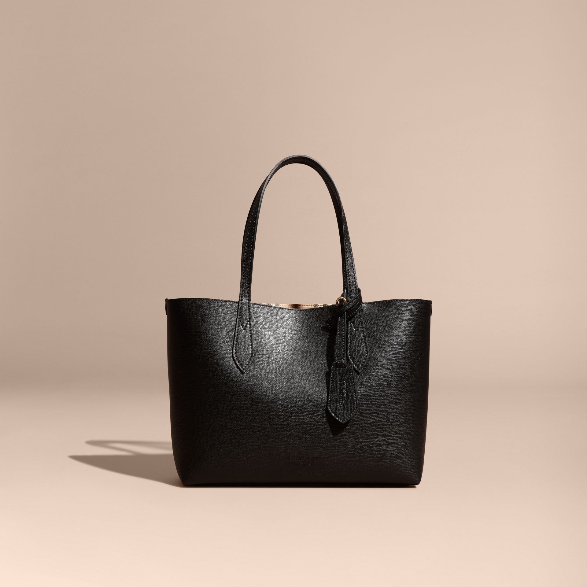 The Small Reversible Tote in Haymarket Check and Leather in Black - Women | Burberry - gallery image 9
