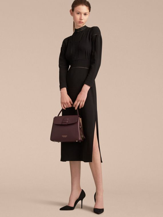 Small Grainy Leather and House Check Tote Bag in Mahogany Red - Women | Burberry - cell image 3