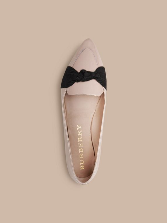 Sandstone Patent Leather Loafers with Grosgrain Bow Sandstone - cell image 2
