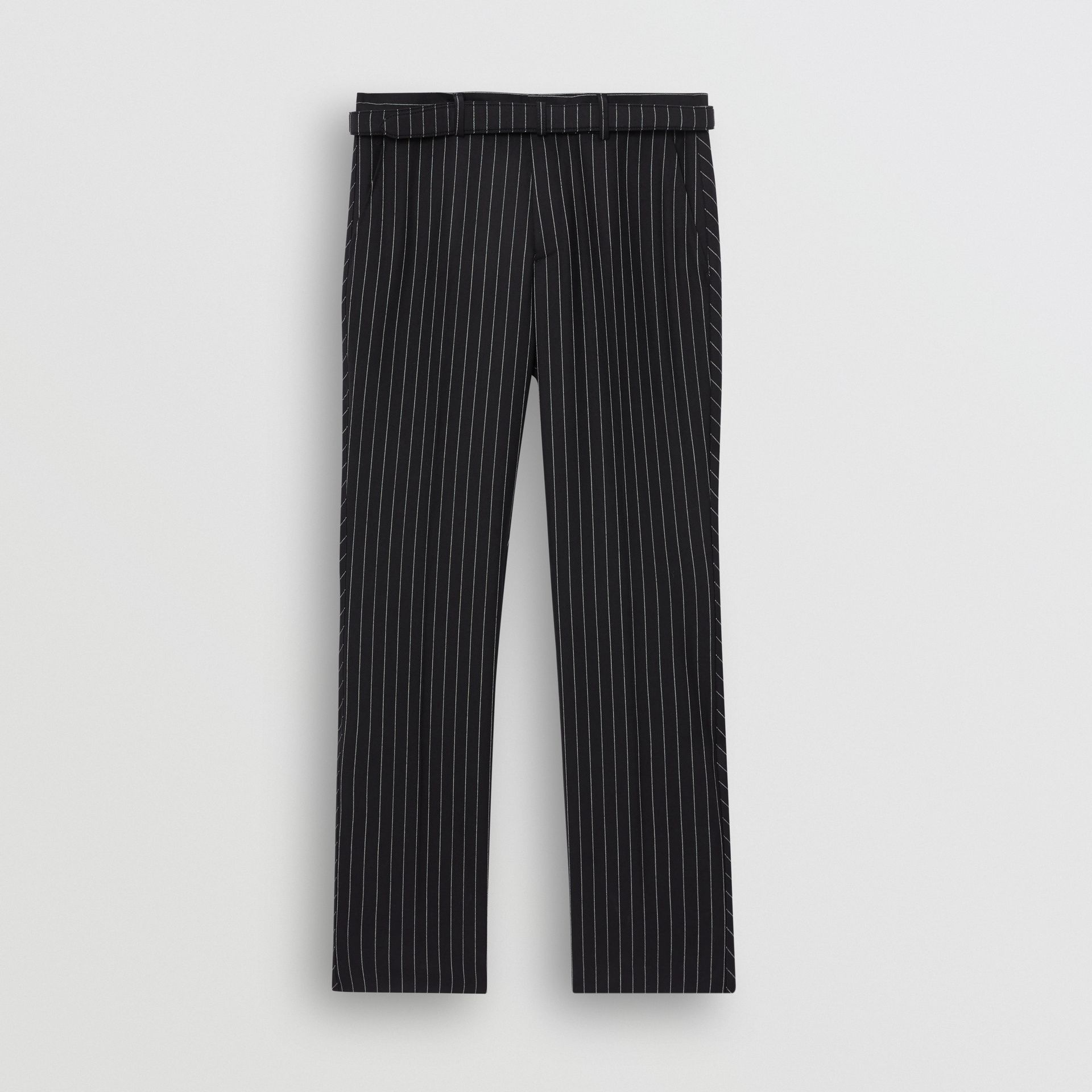 Classic Fit Pinstriped Wool Tailored Trousers in Dark Navy/white | Burberry - gallery image 3