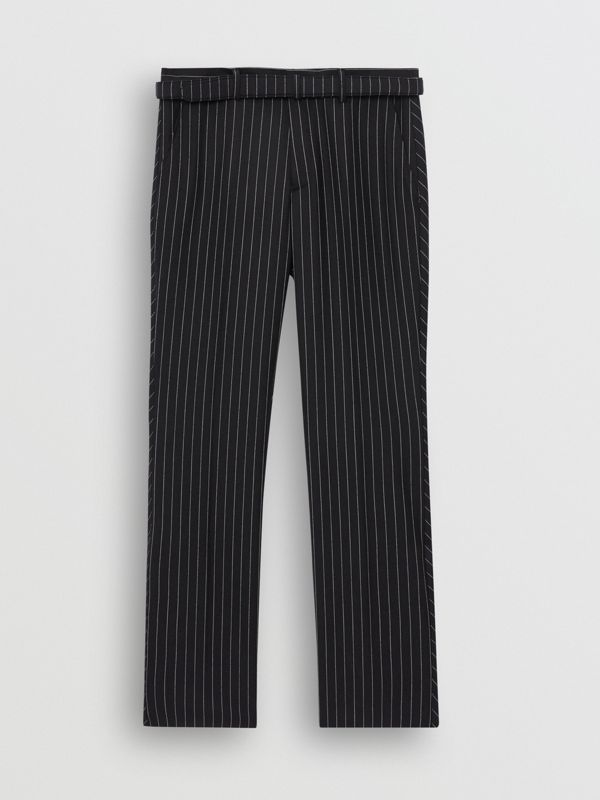 Classic Fit Pinstriped Wool Tailored Trousers in Dark Navy/white | Burberry - cell image 3