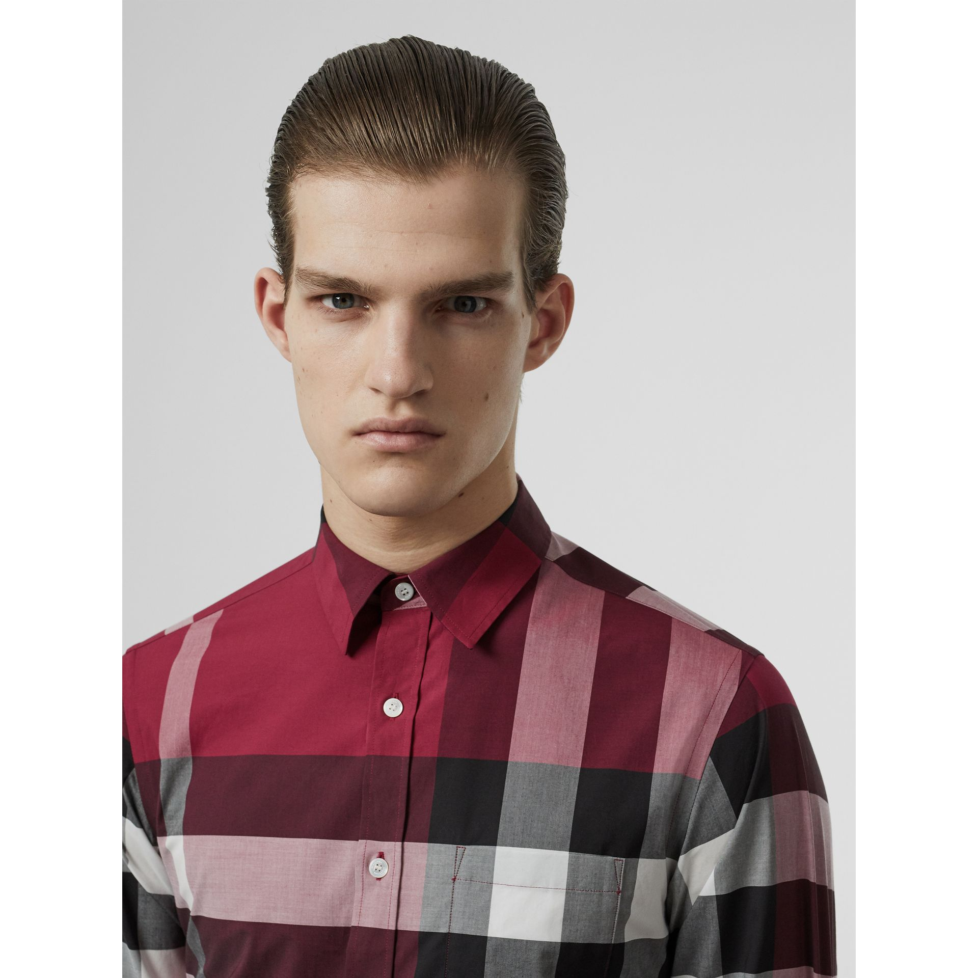 Check Stretch Cotton Shirt in Plum Pink - Men | Burberry - gallery image 1