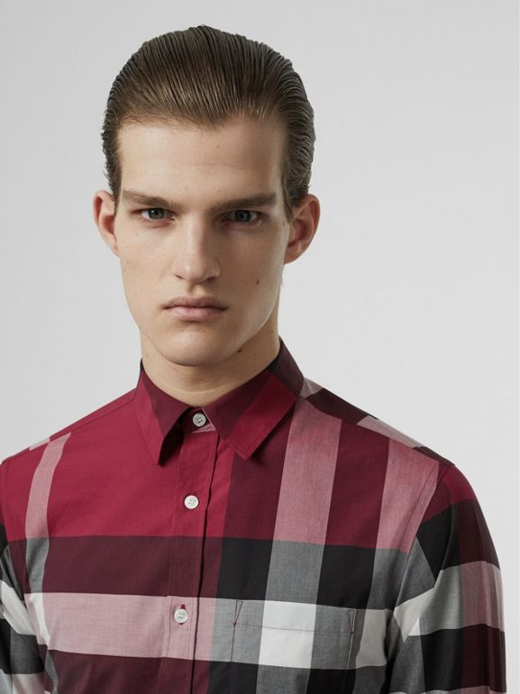Check Stretch Cotton Shirt in Plum Pink - Men | Burberry - cell image 1