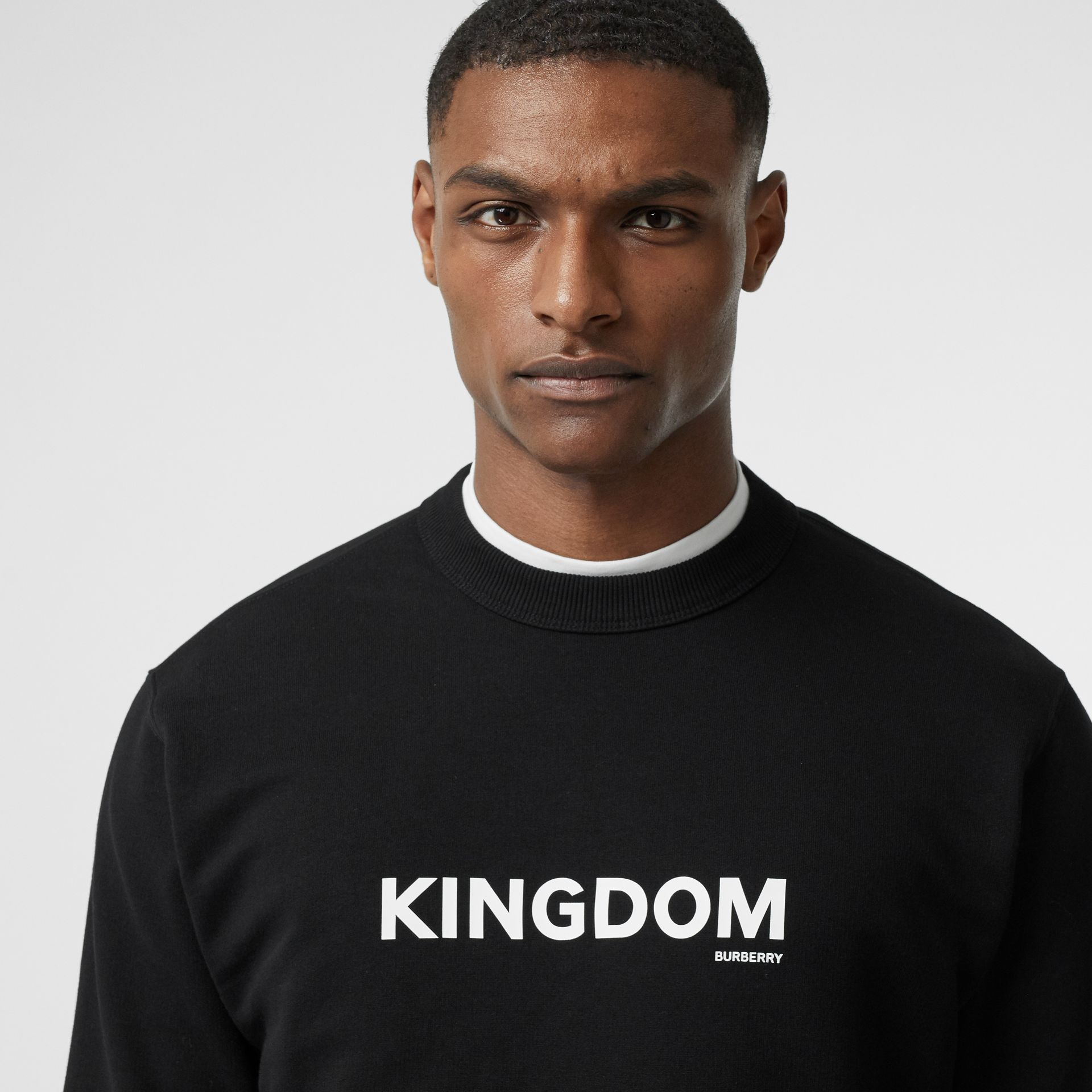 Kingdom Print Cotton Sweatshirt in Black - Men | Burberry - gallery image 1