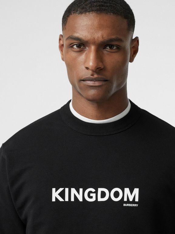 Kingdom Print Cotton Sweatshirt in Black - Men | Burberry Canada - cell image 1
