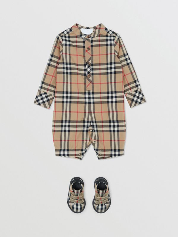 Vintage Check Cotton Jumpsuit in Archive Beige - Children | Burberry United Kingdom - cell image 2