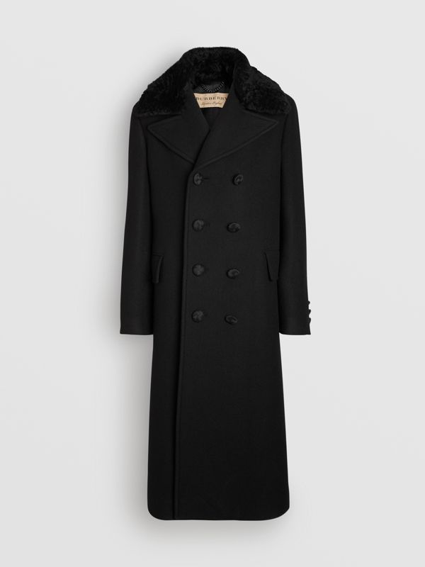 Detachable Shearling Collar Cashmere Chesterfield in Black - Men | Burberry - cell image 3