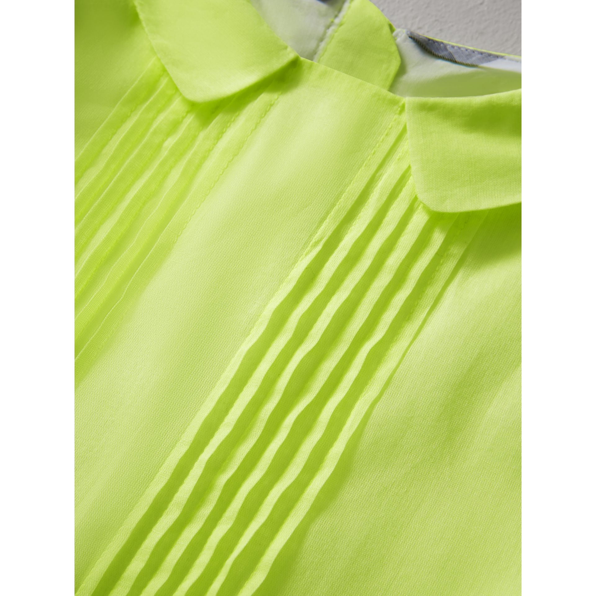 Pintuck Detail Cotton Voile Dress in Neon Yellow - Girl | Burberry - gallery image 1