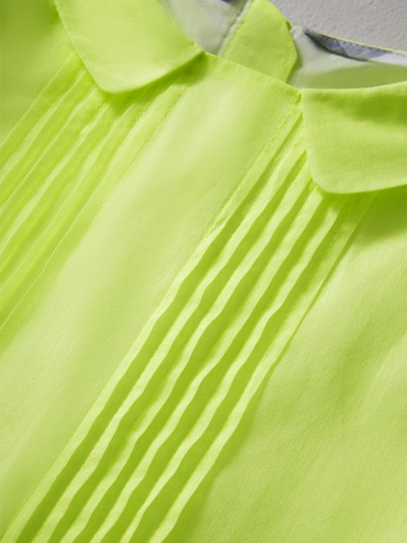 Pintuck Detail Cotton Voile Dress in Neon Yellow | Burberry - cell image 1