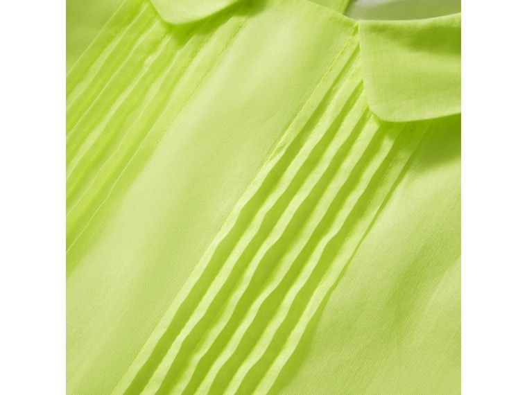 Pintuck Detail Cotton Voile Dress in Neon Yellow - Girl | Burberry United Kingdom - cell image 1