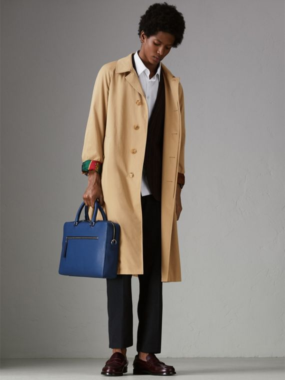 Grainy Leather Briefcase in Bright Ultramarine - Men | Burberry - cell image 2