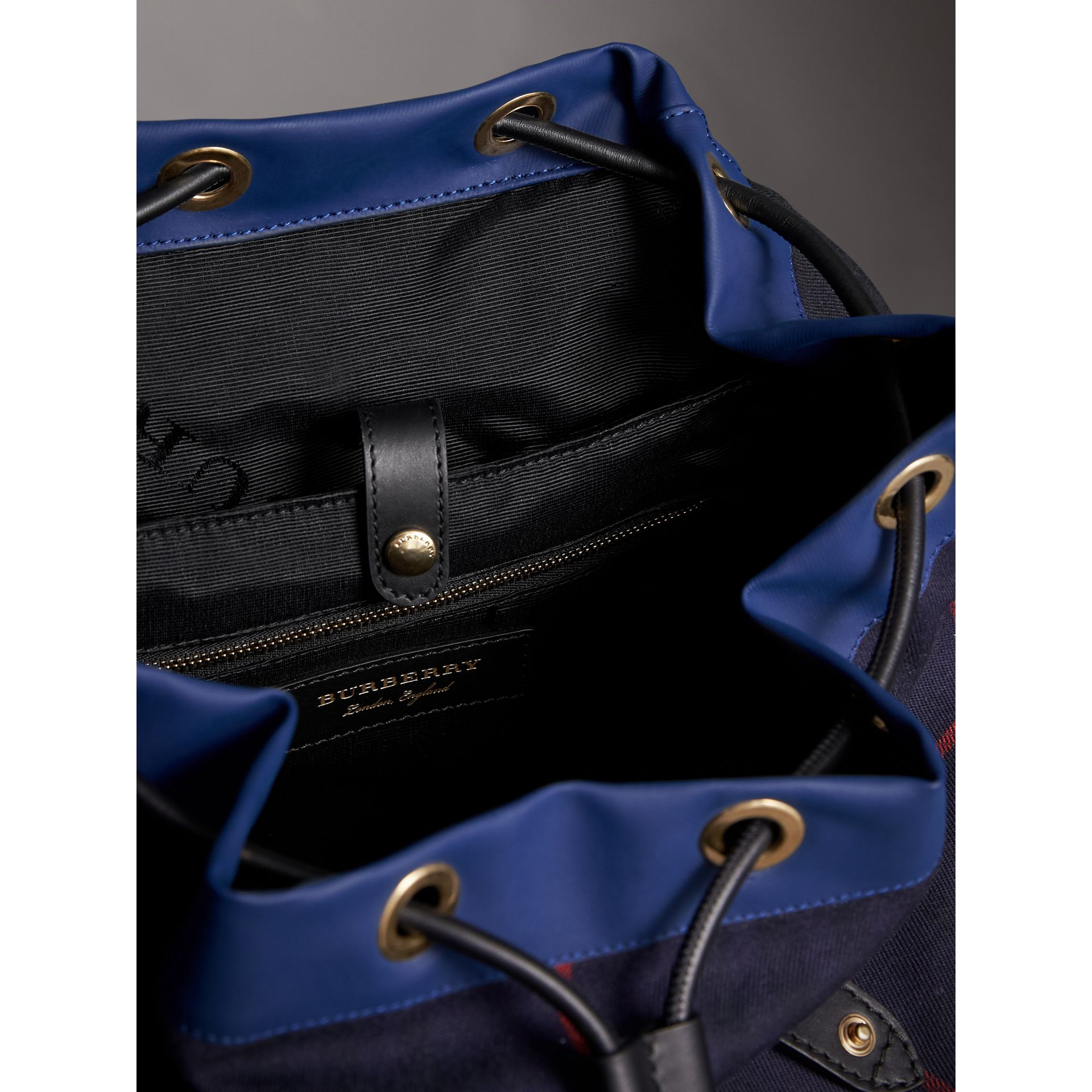 The Large Rucksack in Tartan Cotton in Deep Navy | Burberry - gallery image 5