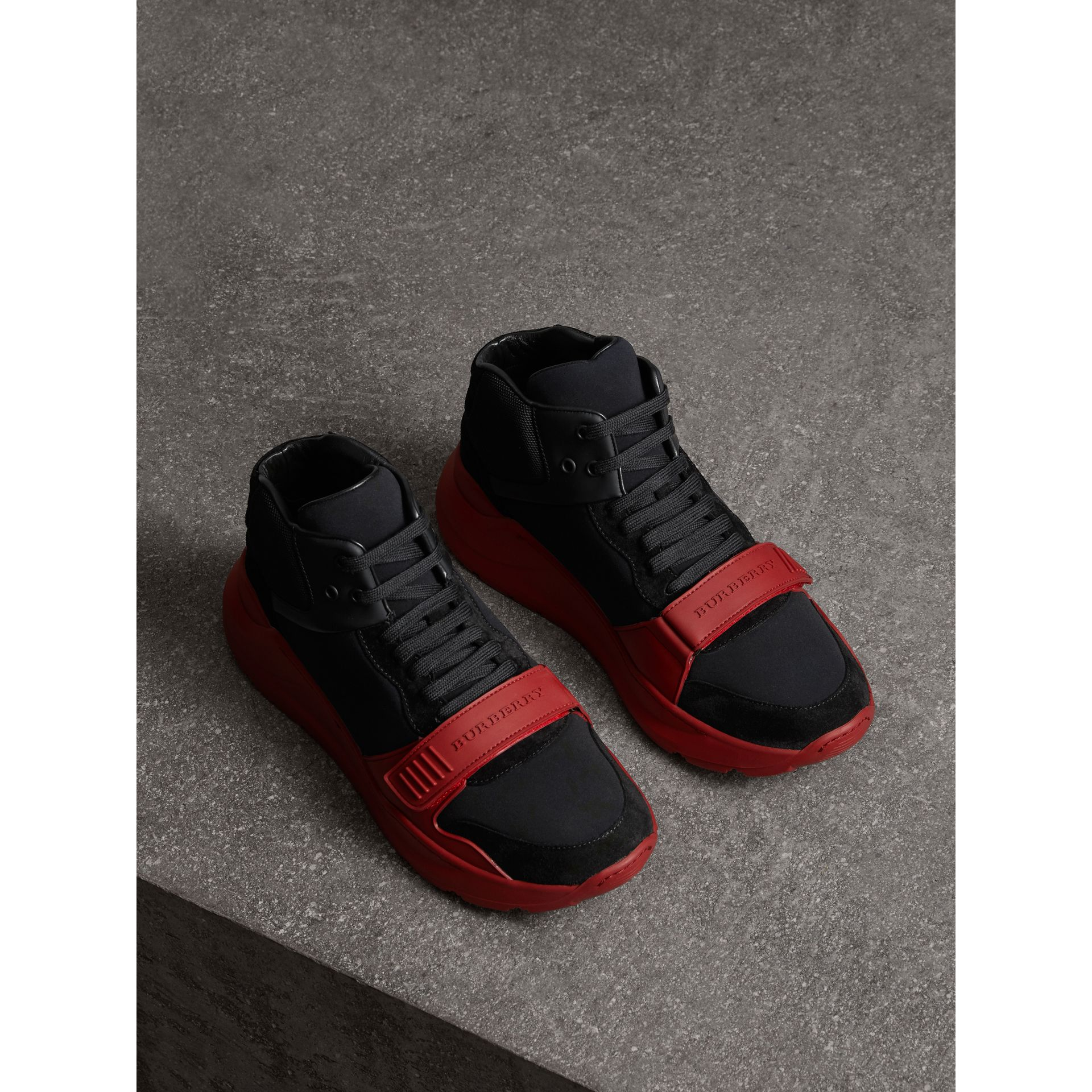 Suede Trim Neoprene High-top Sneakers in Black/military Red | Burberry - gallery image 4