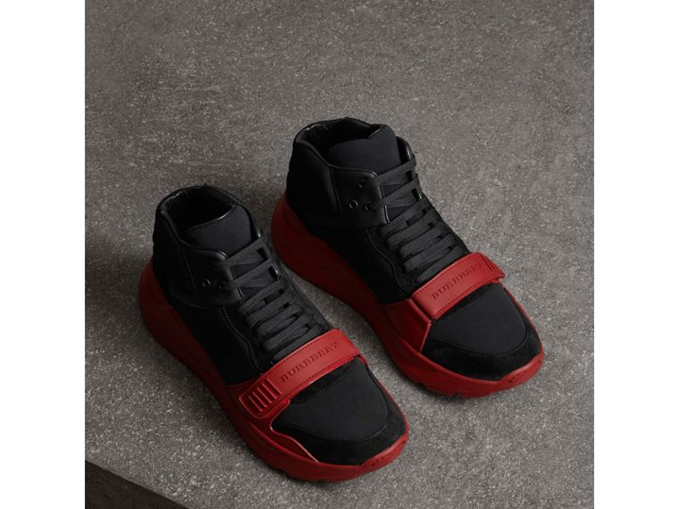 Suede Trim Neoprene High-top Sneakers in Black/military Red | Burberry - cell image 4