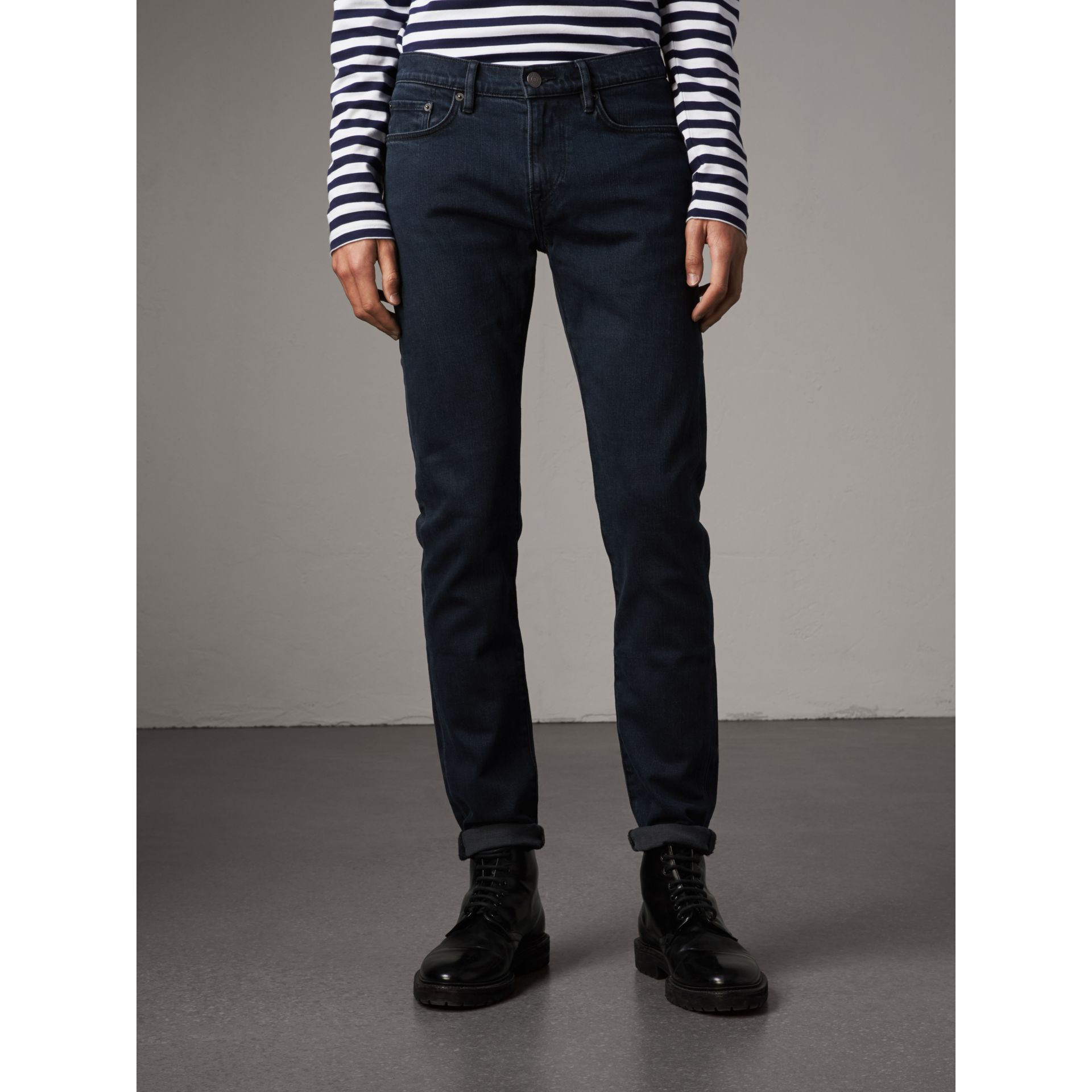 Slim Fit Over-dyed Stretch Jeans in Dark Indigo - Men | Burberry - gallery image 0