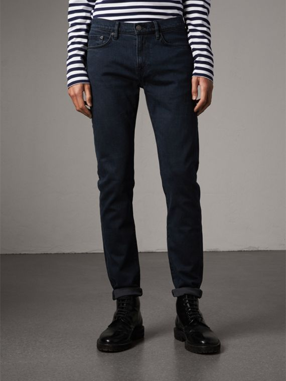 Slim Fit Over-dyed Stretch Jeans in Dark Indigo