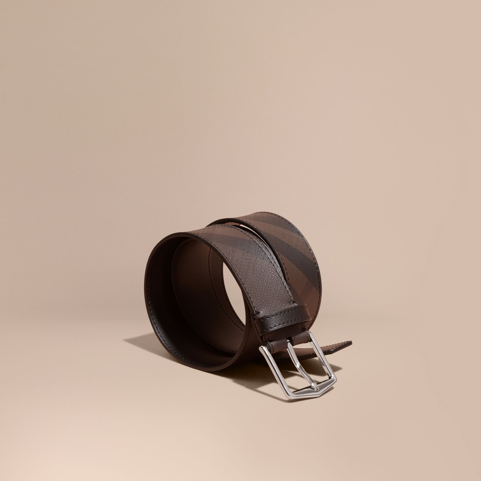 Leather Trim London Check Belt in Chocolate/black - Men | Burberry Canada - gallery image 1