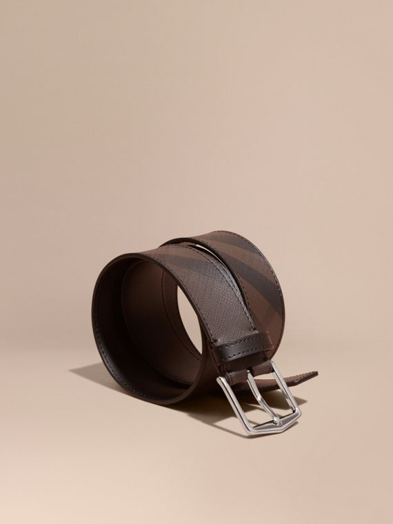 Leather Trim London Check Belt in Chocolate/black - Men | Burberry Hong Kong