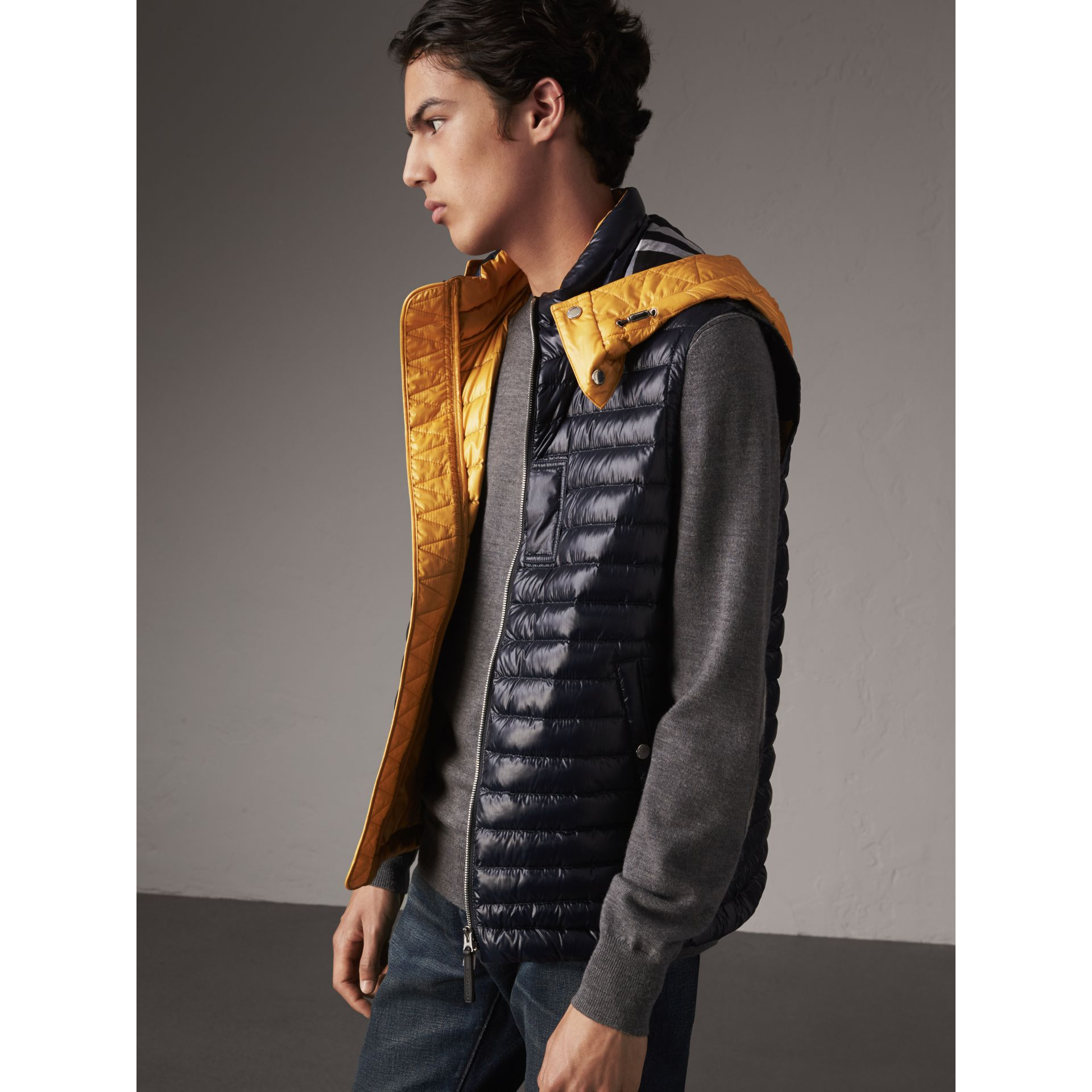 Detachable Hood Packaway Goose-down Gilet in Navy - Men | Burberry - gallery image 6