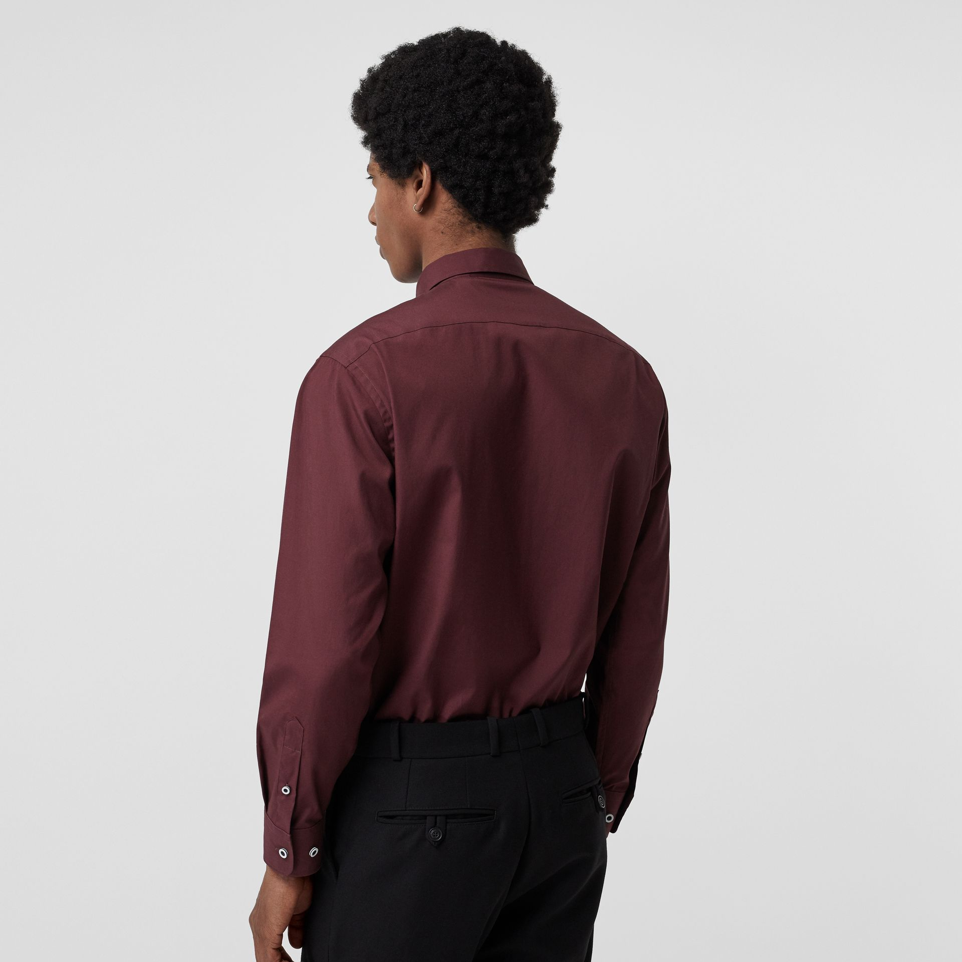 Contrast Button Stretch Cotton Shirt in Oxblood - Men | Burberry - gallery image 2