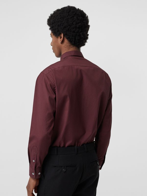 Contrast Button Stretch Cotton Shirt in Oxblood - Men | Burberry - cell image 2