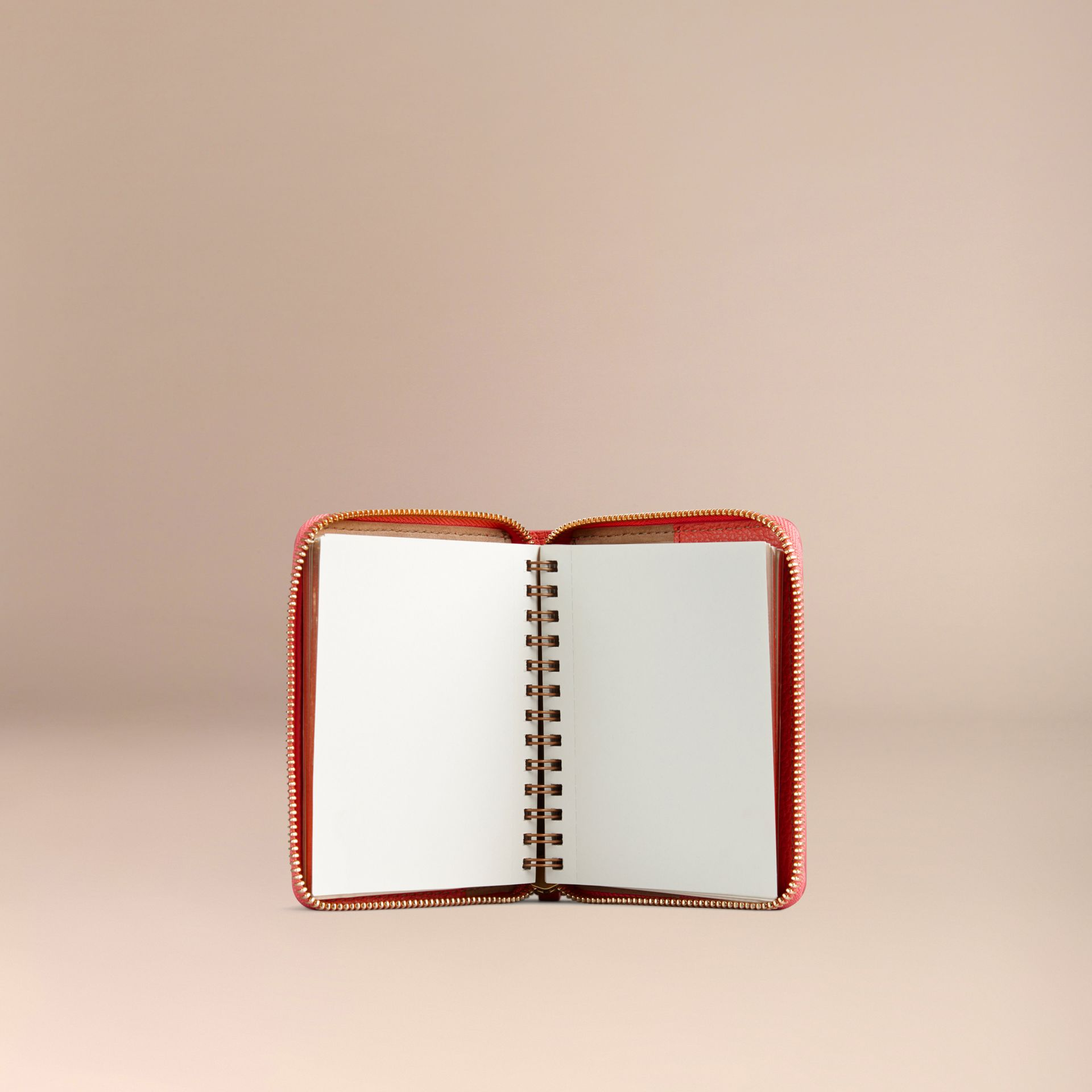 Ziparound Grainy Leather Mini Notebook in Bright Peony - gallery image 3