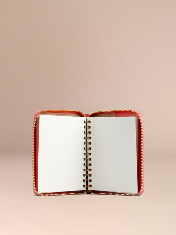Ziparound Grainy Leather Mini Notebook in Bright Peony - cell image 2