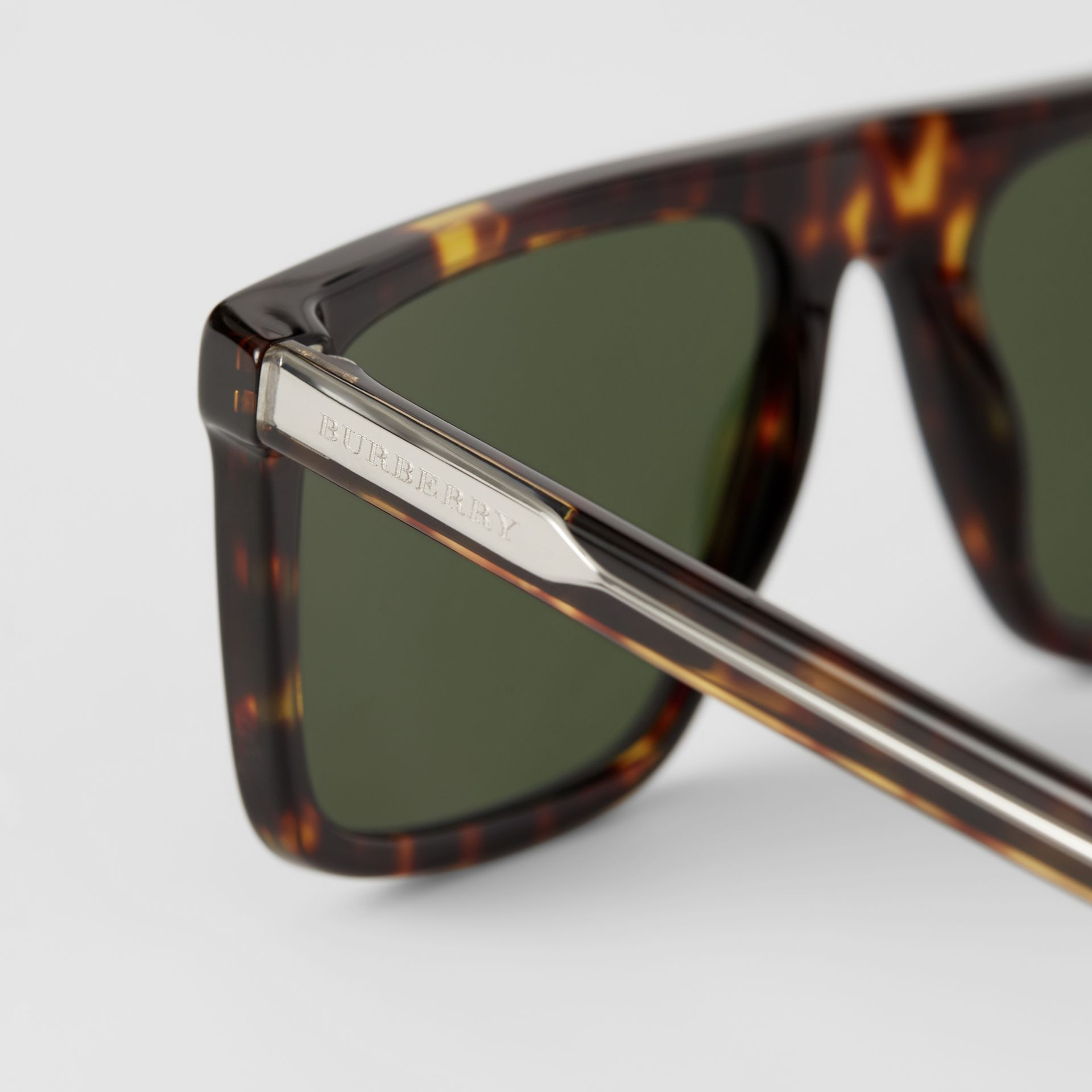 Straight-brow Sunglasses in Tortoise Shell - Men | Burberry - gallery image 1